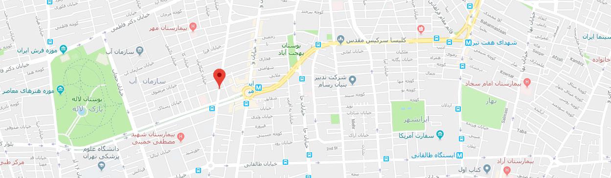 نقشه گوگل-موسسه-تصویربرداری-نسیم-پرتورادیولوژی-سونوگرافی